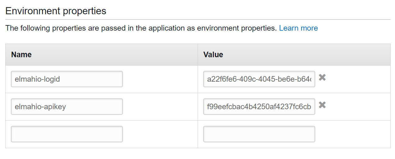 AWS Environment Properties