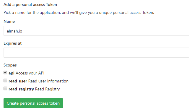 GitLab Tokens Page