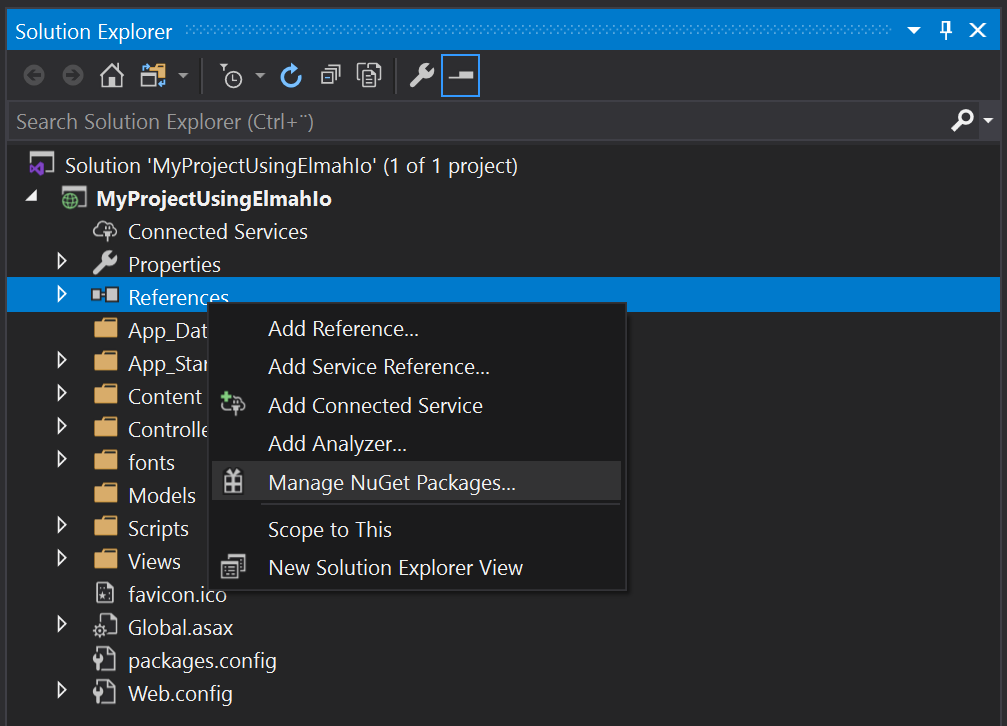 Open Manage NuGet Packages